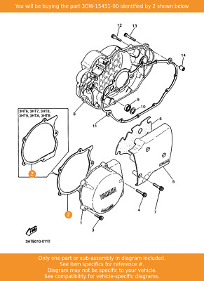Crankcase Cover 1 3YX-15451-00 Fowlers Parts OEM YAMAHA Gasket