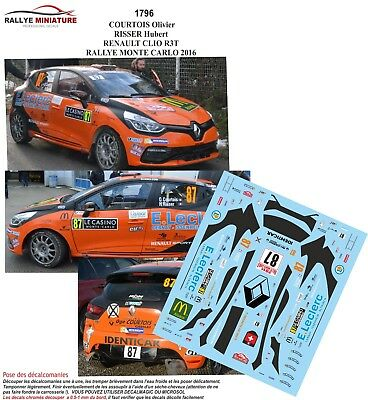 Coches de rally DECALS 1/43 REF 1822 RENAULT CLIO R3 DURAND RALLYE MONTE CARLO 2019 WRC RALLY