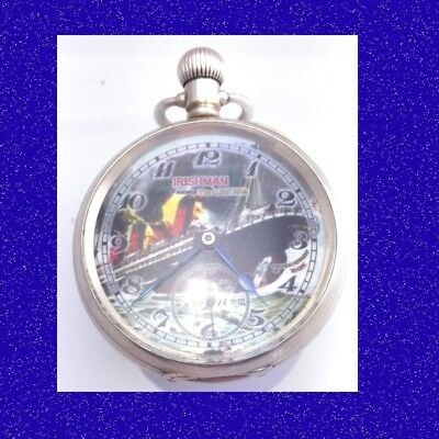 Stunning WW1 Military Irish Army RMS Lusitania Silver Pocket Watch 1915