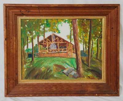 Cabin Porch In Woods Barbecue Grill Vintage Original Naive Folk Art Painting
