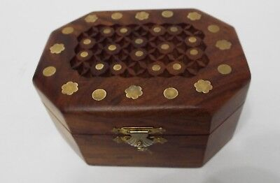 Indian 8 Sided Wooden Hand Carved Inlaid Brass Trinket Jewellery Box
