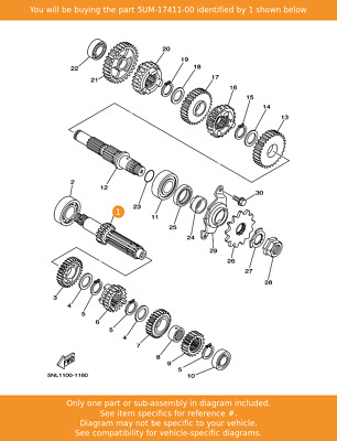 YAMAHA Axle, Main (13t), 5UM-17411-00 Fowlers Parts OEM