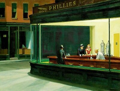 EDWARD HOPPER nighthawks canvas print picture 12 x16 inch stretched over frame