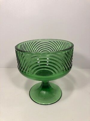 Vintage E.O. Brody Co. Green Glass Dish, Cleveland Ohio, Rare Goblet Chalice Cup