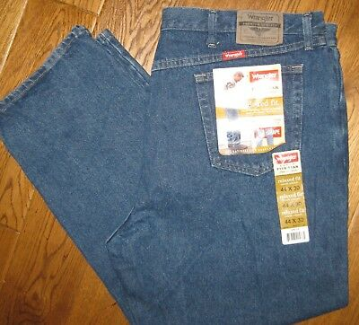 32ae39b6 WRANGLER MEN'S NWT JEANS 44 x 30 RELAXED FIT 97601DR FIVE STAR PREMIUM  DENIM NEW