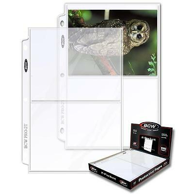 1 Box of 100 BCW 2 Pocket Pages 5 x 7 Photo Storage Sheet Holders