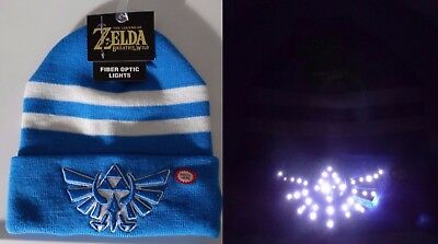 The Legend of Zelda Triforce Logo Nintendo Fiber Optic Lights Knit Cuff Hat  Nwt 1df9a6e927e8
