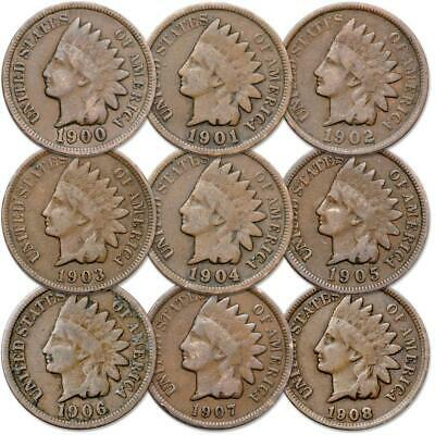 1900-1908 Indian Head Cent 9-Coin Set Circulated