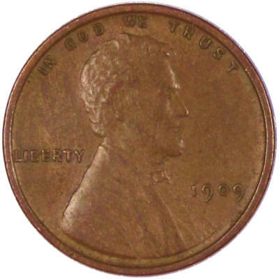 1909 1c Lincoln Wheat Cent Penny AU About Uncirculated