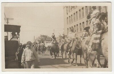 RARE 1911 BILLINGS MONTANA INDIAN PARADE RPPC RP Real Photo Postcard NATIVE 4th