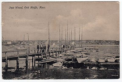 Martha's Vineyard MASSACHUSETTS PC Postcard OAK BLUFFS Joys Wharf 1909 Marthas