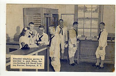1944 US NAVY Naval Training Station PC Postcard SAMPSON NEW YORK WWII Telephone
