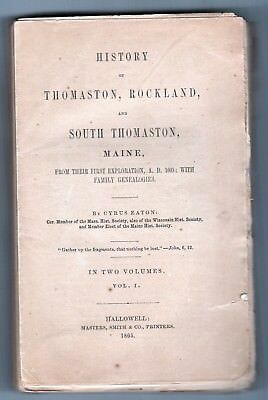 1865 HISTORY THOMASTON Rockland SOUTH THOMASTON MAINE Cyrus Eaton HALLOWELL ME