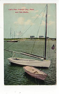 MARTHA'S VINEYARD Massachusetts PC Postcard MARTHAS 1916 Cottage City CALLS PIER