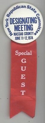 1974 NEW YORK REPUBLICAN STATE COMMITTEE Pin RIBBON Political NASSAU County NY
