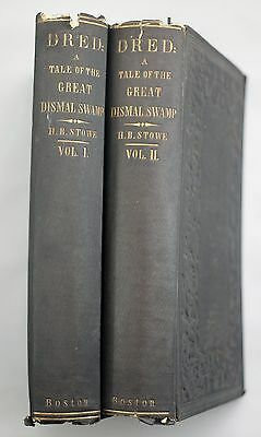 RARE 1856 DRED Harriet Beecher Stowe FIRST EDITION 2 Volumes GREAT DISMAL SWAMP