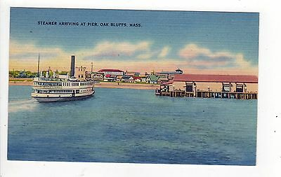 MARTHA'S VINEYARD Massachusetts PC Postcard MARTHAS Steamer Arriving at Pier