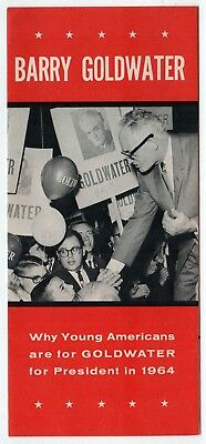 1964 BARRY GOLDWATER Brochure POLITICAL President REPUBLICAN GOP Youth For Barry