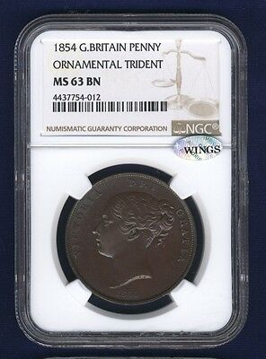 Great Britain Victoria 1854 Penny, Uncirculated, Certified Ngc Ms63-Bn