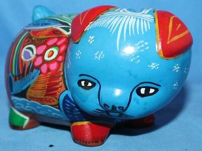 VINTAGE Hand-painted Multi-color Clay Pig Piggy Bank