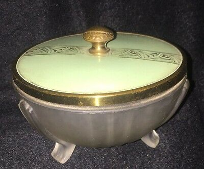Art Deco Jadeite Glass Powder Vanity Box green jade celluloid Lid  3 Leg Frosted