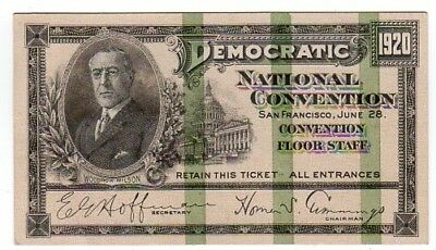 1920 Democratic Convention Convention Floor Staff Ticket