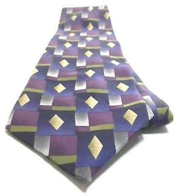 COCKTAIL COLLECTION Necktie Tie 100% Silk Black, Purple, Green, Gray Abstract