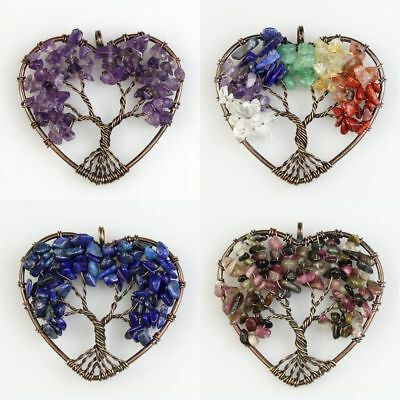 Natural Gemstones Amethyst Fluorite Chip Beads Tree of Life Copper Heart Pendant
