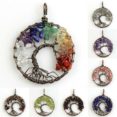 Natural Gemstones Amethyst Garnet Chips Tree of Life Copper Round Pendant 40mm