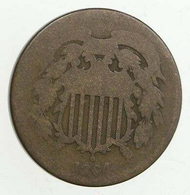 Old Antique Money 2 Cent Piece 1864-1873 Two Cent CULL Coin 1 Early U.S