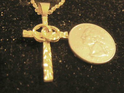 bling gold plated 2 WEDDING BANDS love cross crucifix pendant necklace JEWELRY