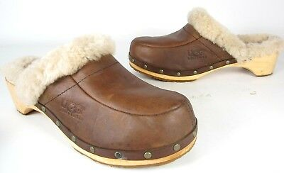 3fc35aff616 UGG AUSTRALIA KALIE BROWN LEATHER & SHEARLING MULE CLOGS WOMEN'S SHOE SIZE  10