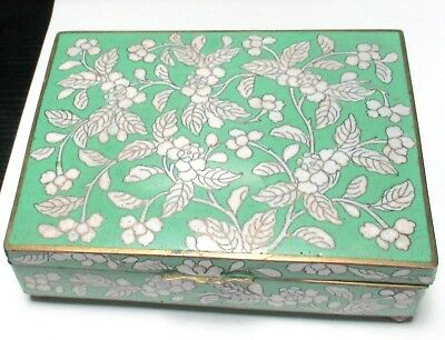 Large Chinese Cloisonne Green Enamel Floral Blossoms Humidor Jar Box