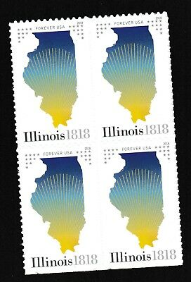 US 5274 Statehood Illinois forever block (4 stamps) MNH 2018