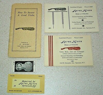 Aaron Miers Violin Maker 1909-25. Business cards and 12 page booklet