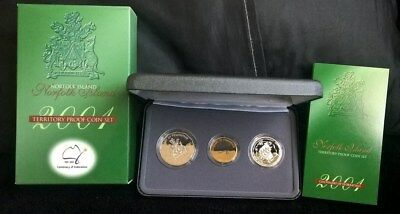 2001 Centenary Of Federation *Proof Coin Collection*- *Norfolk Is* -3 Coin Set