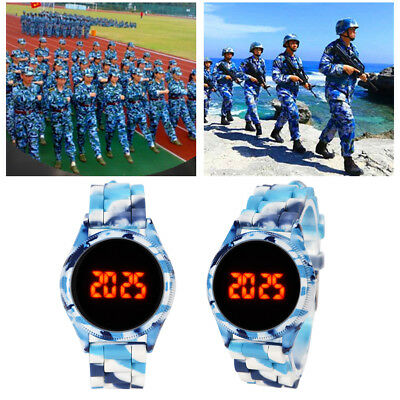 Touch Screen Sport Watch Camouflage Silicone Electronic LED Digital Wristwatch