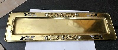 Antique Vintage Earts & Crafts Art Nouveau Brass Oblong Rectangular Desk Tray