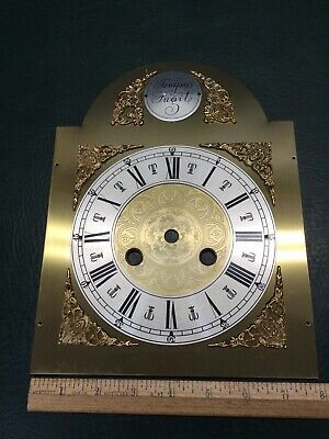 NOS Vtg Tempus Fugit Grandfather Clock Brass Face Dial Holed for BW622