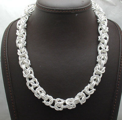 """18"""" Bold Textured Byzantine Link Chain Necklace Real Sterling Silver 925"""