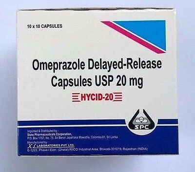 """Omeprazole"" 20 mg OTC 100 ct Capsules Acid Re flux Heart Burn Reducer Formula"