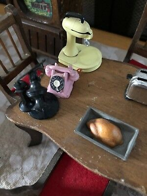 Vintage Miniature Doll House Furniture LOT with accessories