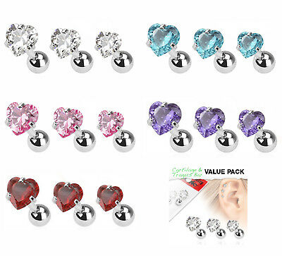 Value Pack of 3 Assorted Cartilage Tragus Bars with Heart Gem Tops