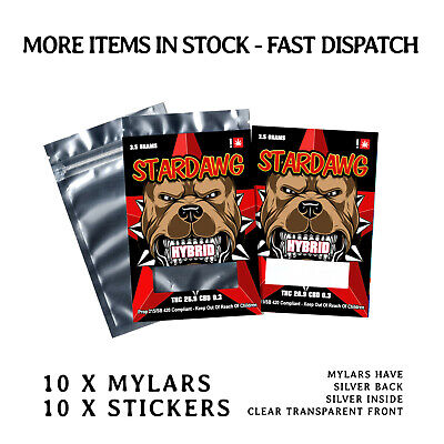 Mylar Bags & Stickers X 10 Pack [ Stardawg Cali Labels ]