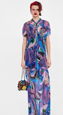 366bcee05a80 ZARA 2878 293 MULTI Pleated Maxi Dress 2878 293 S NWT -  36.00 ...