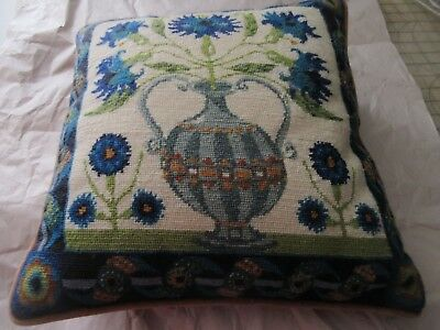 Completed Needlepoint Tapestry Pillow Ehrman ELIZABETHAN VASE Margaret Murton