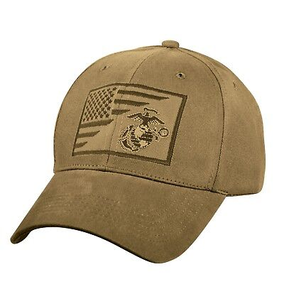 US Marine Corps Ball Cap USMC Vietnam OEF OIF Gulf Vet Hat FLAG and EG&A Coyote