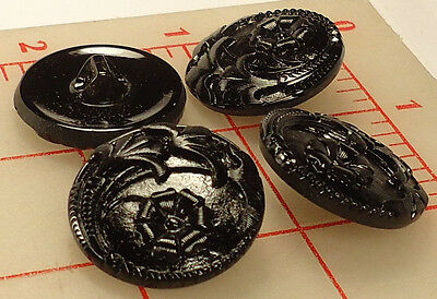 "3 Vintage Large Glass Shank Buttons Black 4 Flower Design Czech 1""  #70"