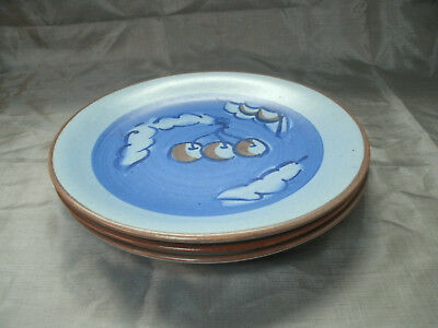 """Stangl CHERRY Blue & Brown Set of 3-9 7/8"""" Dinner Plates 3302 Hand Painted EC"""