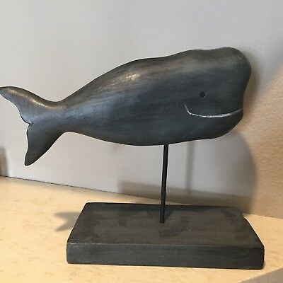 "Wood Wooden Whale ""Folk Art"" Figurine With Base"